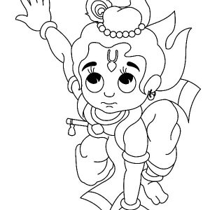 Krishna Jump On Land Coloring Pages