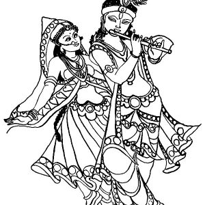 Krishna Play His Flute While Radha Is Dancing Coloring Pages