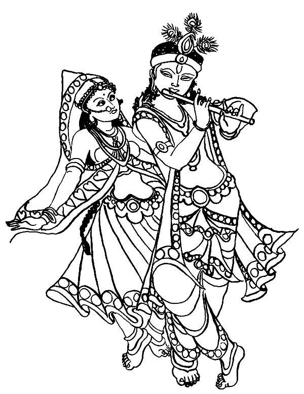 Krishna Play His Flute While Radha