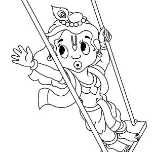 Krishna Playing Swing Coloring Pages