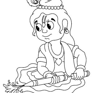 Krishna Playing With Pichakari Coloring Pages