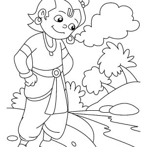 Krishna Prepare To Jump In The River Coloring Pages