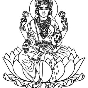Krishna Sitting On Lotus Coloring Pages