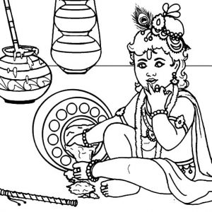 Krishna Spill Butter On The Floor Coloring Pages