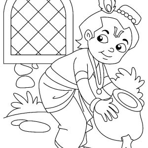 Krishna Stealing Butter Coloring Pages