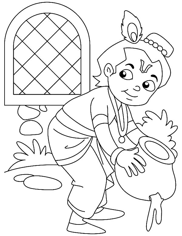 Krishna Stealing Butter Coloring Pages - Download & Print ...