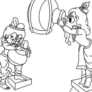 Krishna Stealing Butter With Balarama Coloring Pages