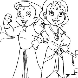 Krishna And His Strong Brother Balaram Coloring Pages