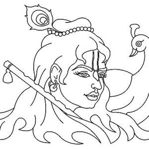 Krishna And Peacock Coloring Pages