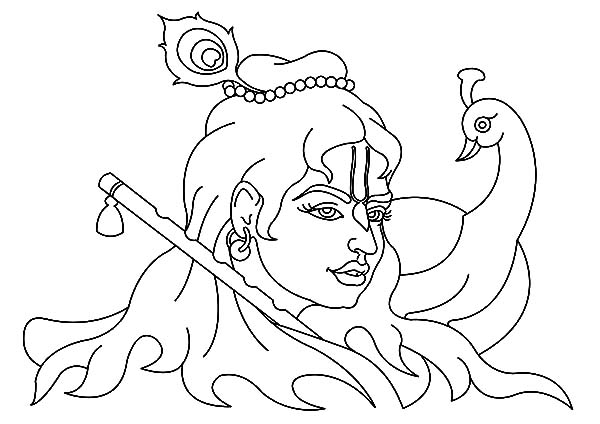 Krishna And Peacock Coloring Pages Download Print Online