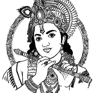 Krishna With His Flute Coloring Pages