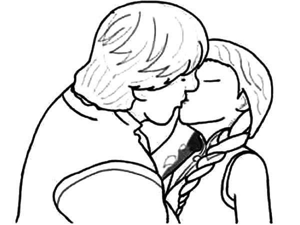 Kristoff Kissed Princess Anna Coloring Pages Download Print