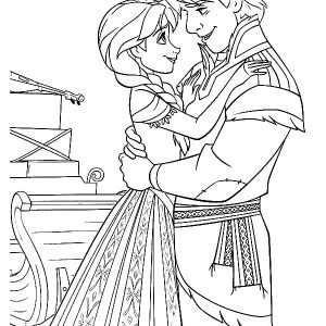 Kristoff Love Princess Anna Coloring Pages