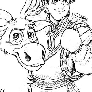 Kristoff Loyal Friend Sven The Reindeer Coloring Pages