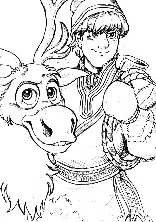 Kristoff Loyal Friend Sven The Reindeer Coloring Pages Download Print Online Coloring Pages For Free Color Nimbus