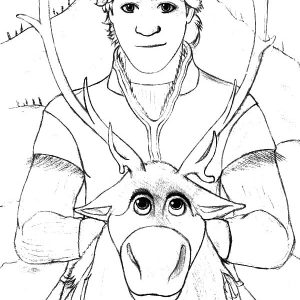 Kristoff Ride On Sven Coloring Pages