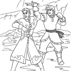 Kristoff Stopped Prince Hans Throwing Knife Coloring Pages