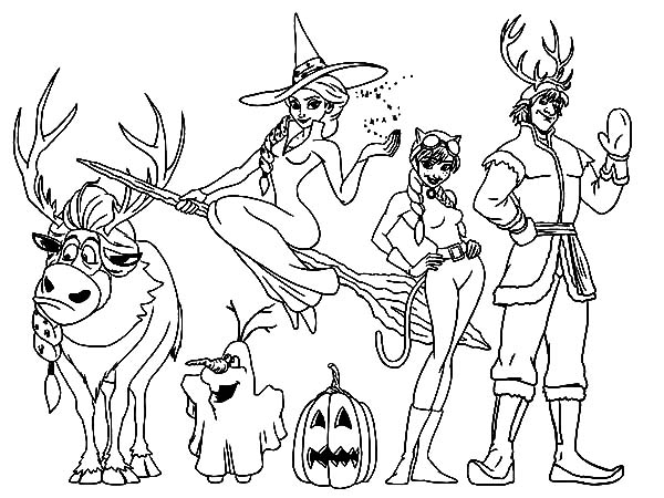 Kristoff And Friends On Halloween Coloring Pages Download Print Rhcolornimbus: Elsa Halloween Coloring Pages At Baymontmadison.com