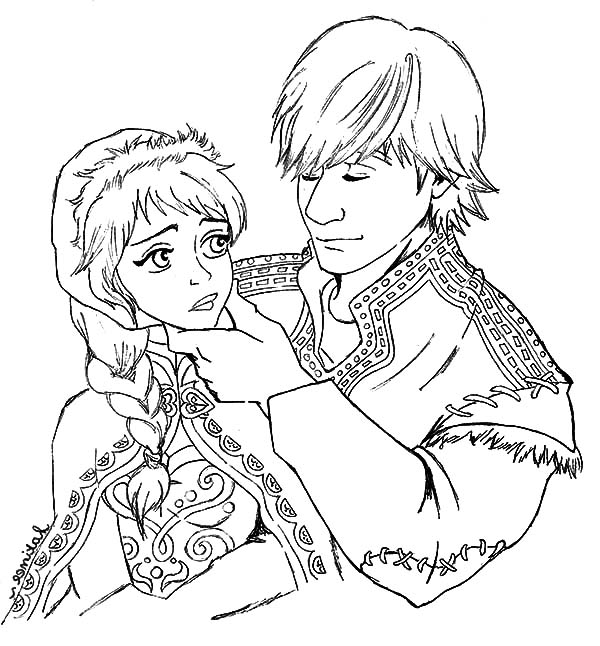 couple coloring pages Kristoff And Princess Anna Lover Couple Coloring Pages   Download  couple coloring pages