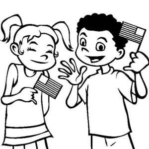 Laughing Waving Flags On Flag Day Coloring Pages