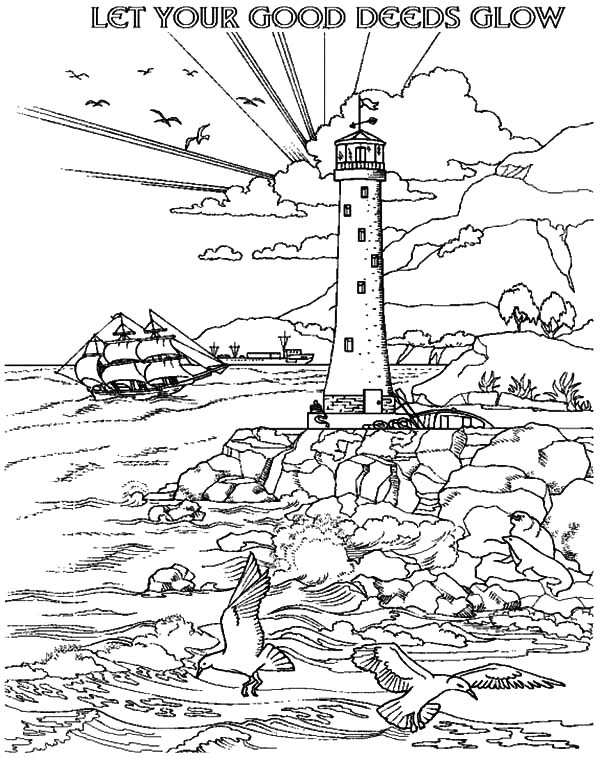 Coloring Page lighthouse - free printable coloring pages | 759x600