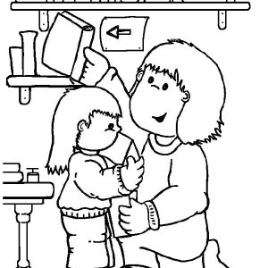 Librarian Is People Who Help Us At Library Coloring Pages