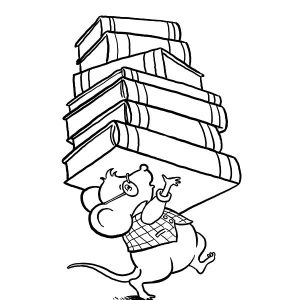 Library Mouse Brought Lot Of Book At Library Coloring Pages