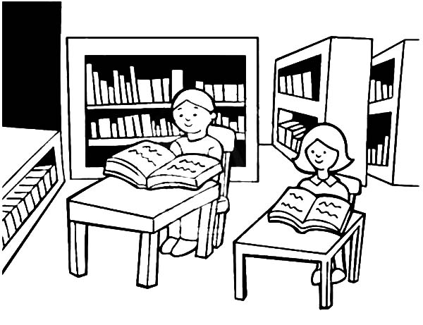 Library Is A Place For Student Study Coloring Pages