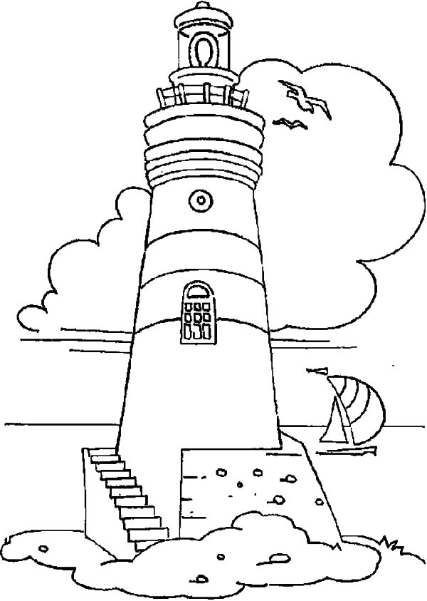 Lighthouse And Sailing Boat Coloring Pages - Download & Print Online ...