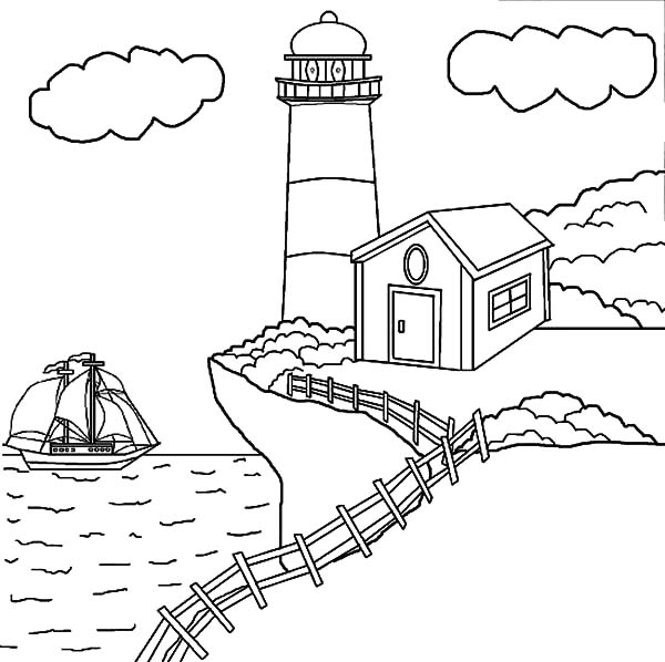 Art with edge coloring pages ~ Lighthouse At The Edge Of The Cliff Coloring Pages ...