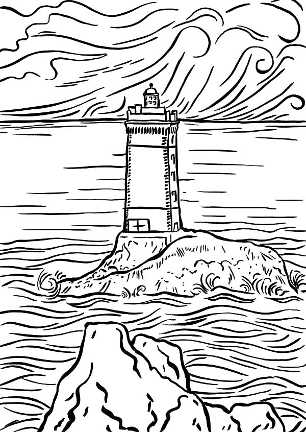Lighthouse In The Middle Of The Sea Coloring Pages