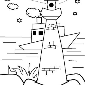 Lighthouse Is Boat Navigation Coloring Pages
