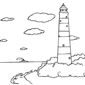 Lighthouse On The Beach Side Coloring Pages