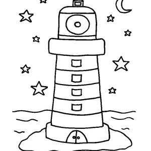 Lighthouse With Moon And Stars Coloring Pages