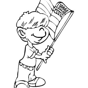 Little Boy Waving Flag On Flag Day Coloring Pages