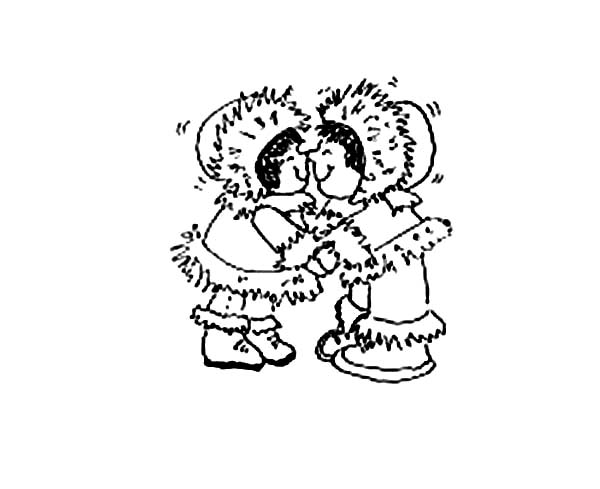 Little Eskimo Girl Play Together Coloring Pages