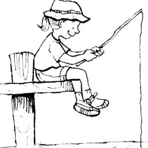 Little Girl Fishing With Palm Tree Pole Coloring Pages