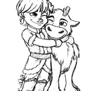 Little Kristoff Hug His Bestfriend Sven Coloring Pages