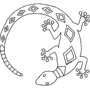 Lizard With Unique Theme Coloring Pages