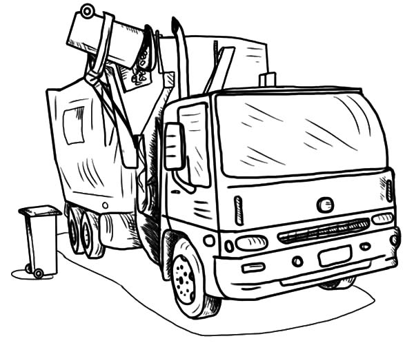Garbage Truck, : Loading Garbage Truck Coloring Pages
