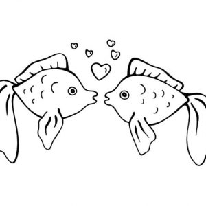Loving And Kissing Fish Coloring Pages