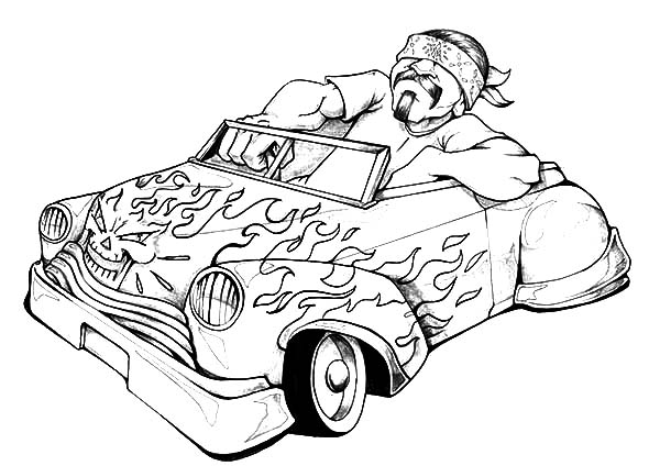 Lowrider Cars On Fire Coloring Pages Download Print Online