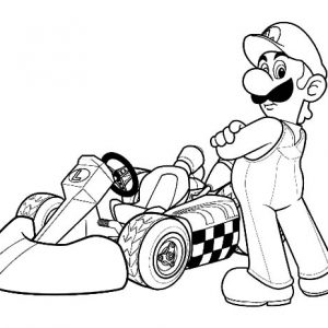 Luigi Taking Picture In Front Of Cart Coloring Pages