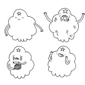Lumpy Space Princess Emotion Coloring Pages