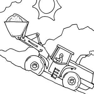 Man Operating Excavator Coloring Pages
