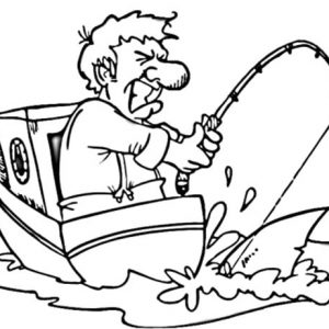 Man On Boat Strike With Fishing Pole Coloring Pages