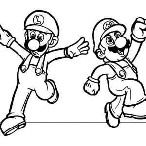 Mario And Luigi Feeling Excited Coloring Pages