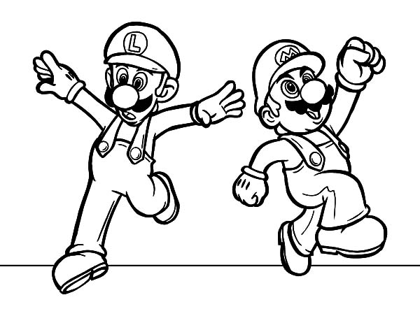 Mario and Luigi Feeling Excited Coloring Pages - Download ...