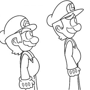Mario And Luigi Stand In Line Coloring Pages
