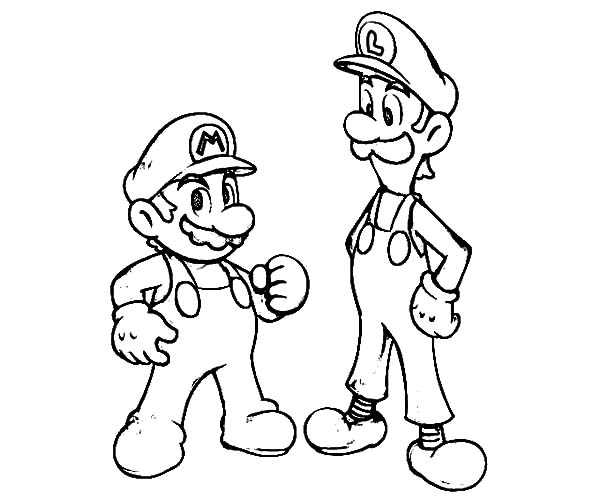Mario And Luigi Is Teammate Coloring Pages Download Print